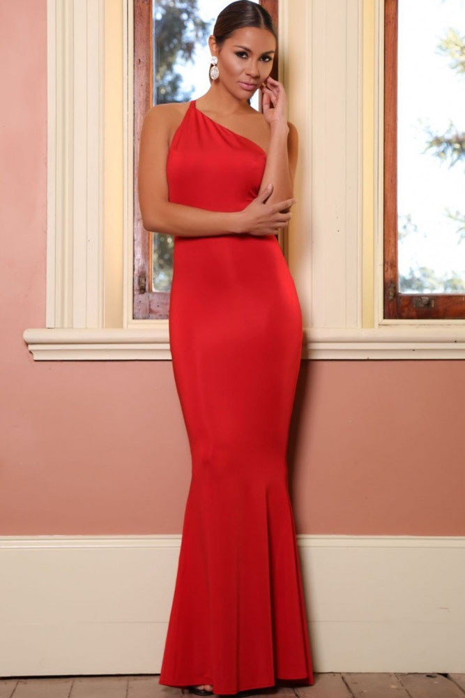Cheap Sexy Oblique One Shoulder Sleeveless Backless Red Polyester Mermaid  Trailing Evening Dress 4a2431d89568