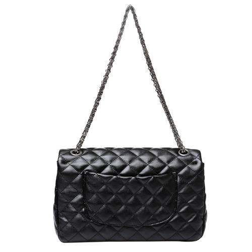 Cheap Fashion Hasp Design Plaids Embossed Solid Black PU Shoulder Bag