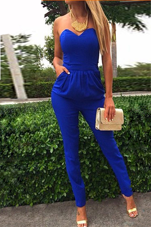 Sexy Strapless Off The Shoulder Sleeveless Pockets Design Solid Blue Cotton Blend One-piece Skinny Jumpsuit
