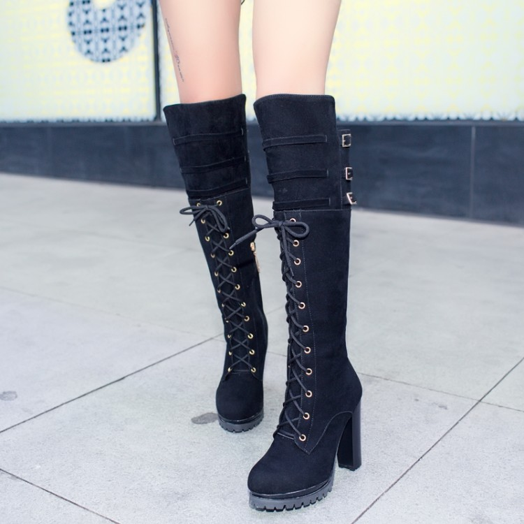 cheap winter toe buckle zipper design lace up chunky