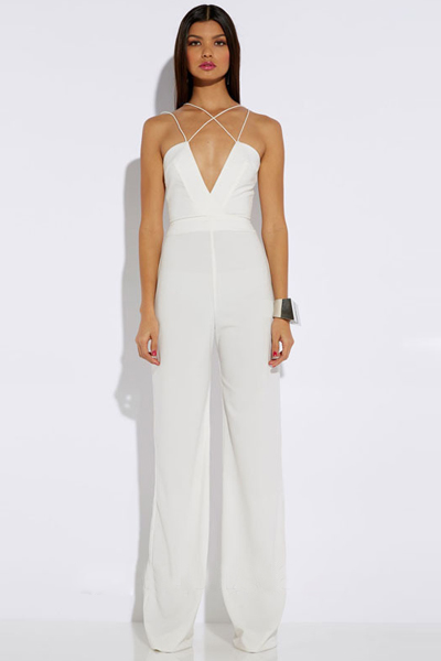 c1bbcaa9540 Cheap Sexy V Neck Off The Shoulder Sleeveless Backless Solid White  Polyester One-piece Regular