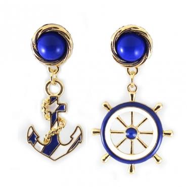 Cheap European Fashion Anchor Shaped Blue Metal Earring