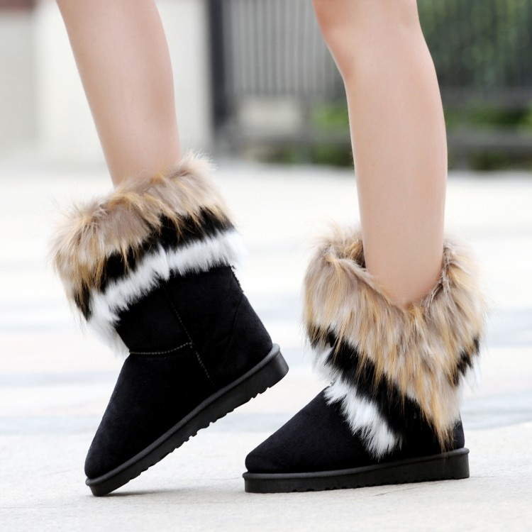 Trendy Winter Fashion Round Toe Feathers Decorated Slip On Flat Low Heel Black Suede Ankle Snow Boots