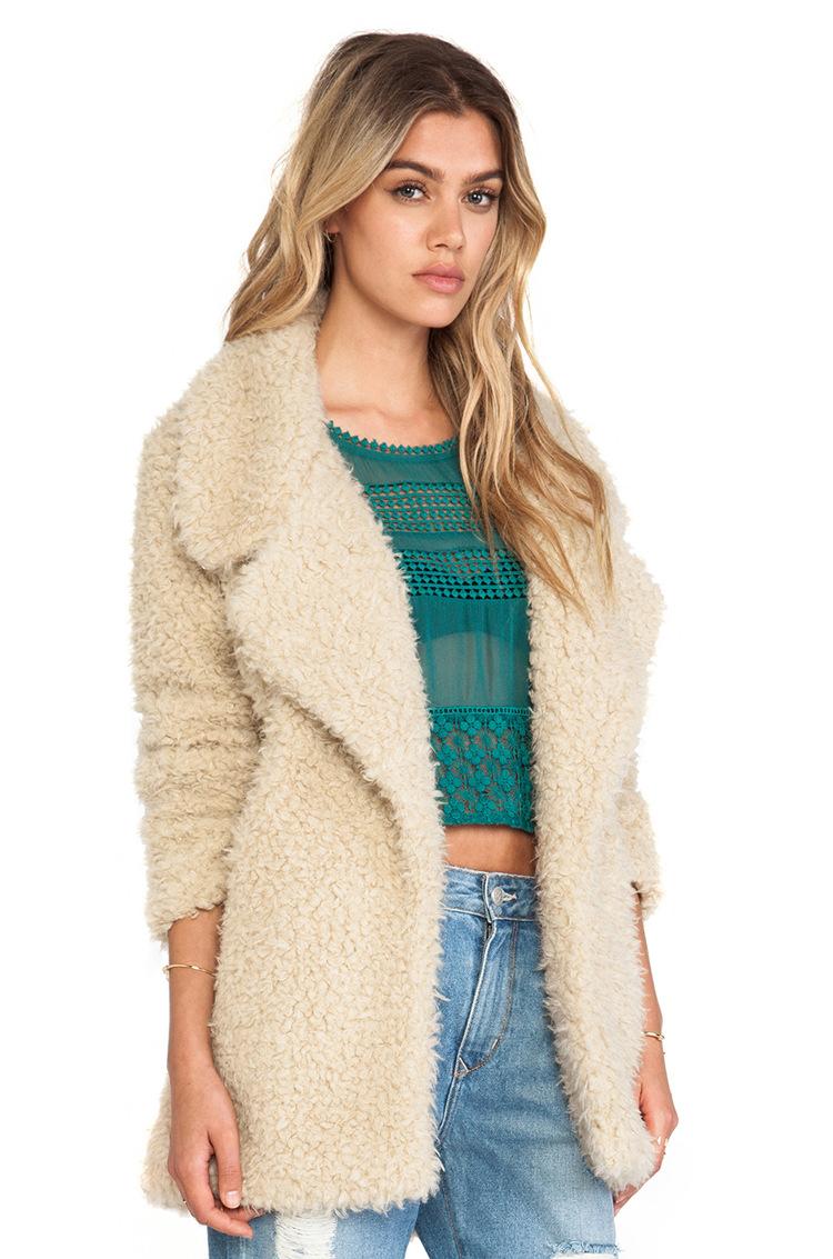 Cheap Fashion Turndown Collar Long Sleeves Beige Long Wool Coat