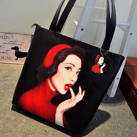 Cheap Fashion Zipper Design Red Lip Girl Print PU Shoulder Bag
