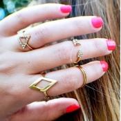 Cheap Fashion Rhinestones Embellished Geometric Sh