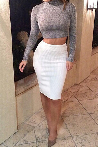 9422dbfdd23 Cheap Sexy Turtleneck Long Sleeves Polyester Two-piece Sheath Knee Length Skirt  Set(Grey Top+White Skirt) YT150103205