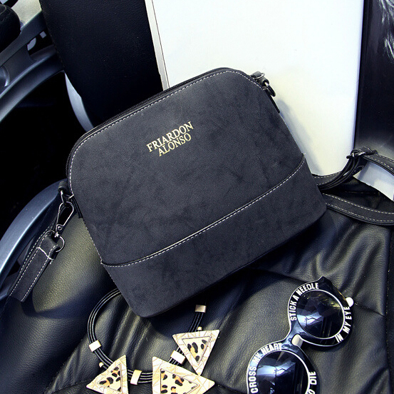 Cheap Women Fashion Zipper Design Solid Black PU Slanting Bag