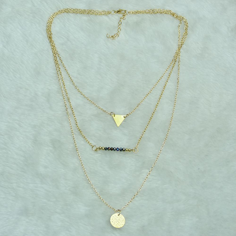 Cheap Fashion Triangle Decorated Tree-layered Gold Metal Necklace