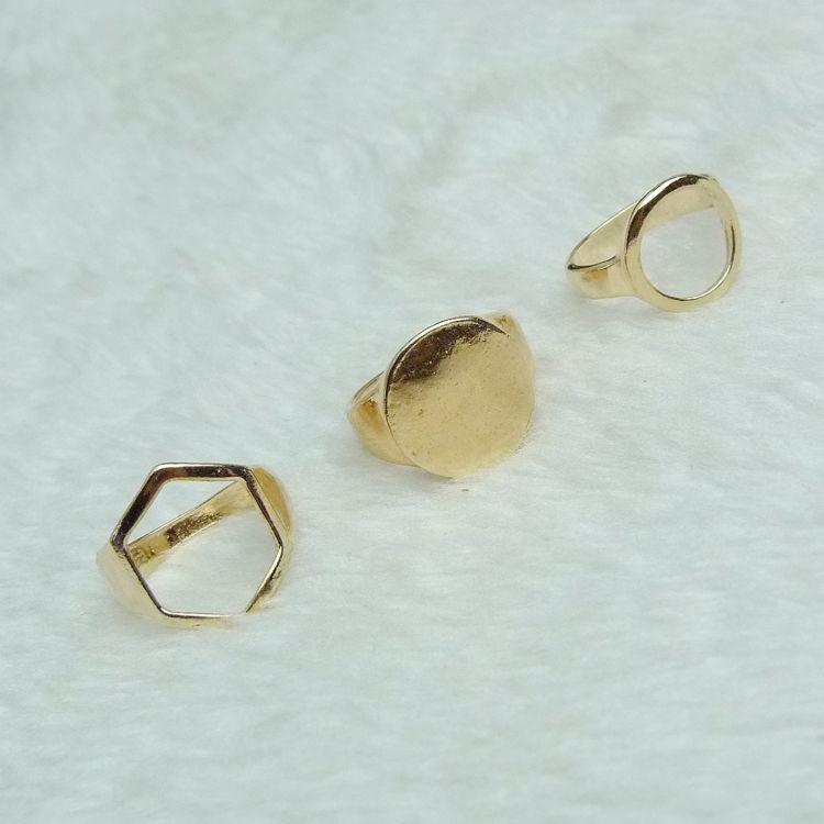 Cheap Celebrity Fashion Geometri Shaped Gold Metal Ring Set