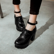 Cheap Fashion  Round Closed Toe Lace-up Chunky Hig