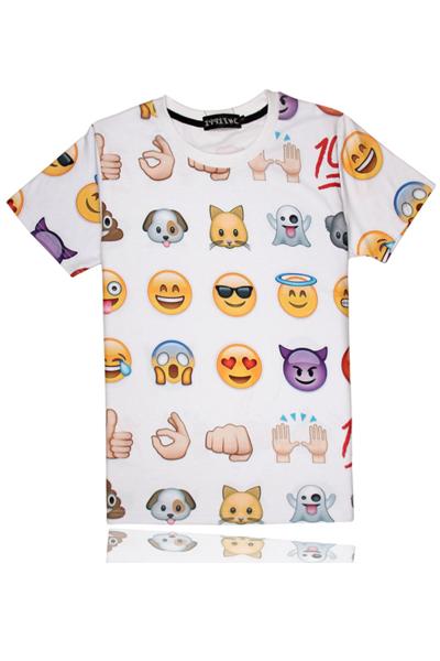 Cheap Casual O Neck Short Sleeves QQ Emoji Print White Blending Regular T-shirt