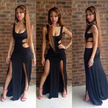Cheap Sexy U Neck Tank Sleeveless Black Blending  Ankle Length Dress