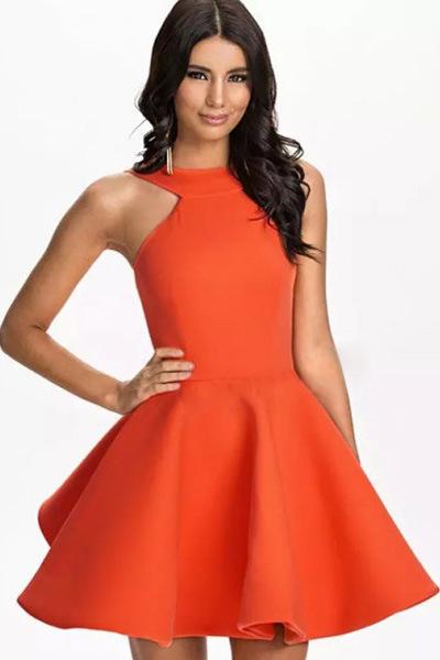 Cheap Sexy O Neck Tank Sleeveless Orange Polyester Mini Skater Dress