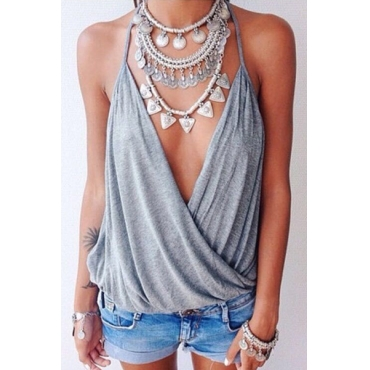 Cheap Sexy V Neck Sleeveless Ruffles Design Solid Grey Blending T-shirt