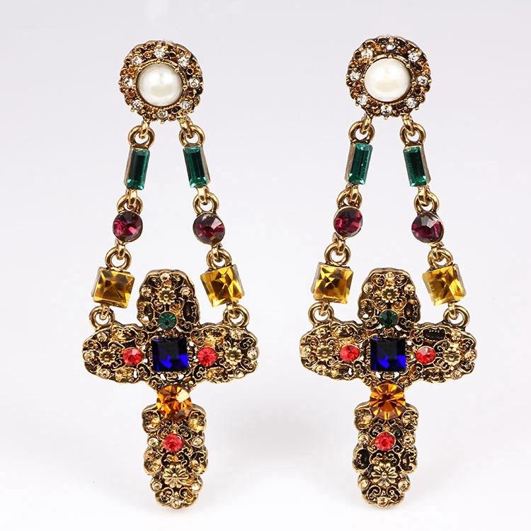 Cheap Fashion Rhinestone Embellished Floral Cross Shaped Metal Earring