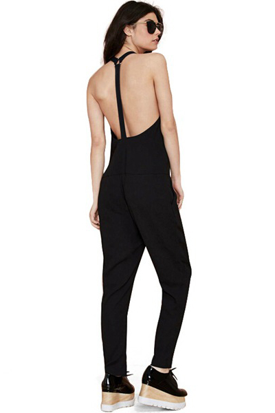 Cheap New Style Sleeveless Backless Solid Black Blending One-piece Regular Jumpsuit