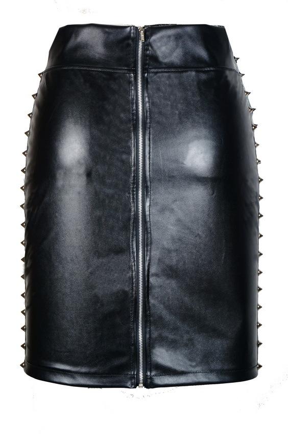 cheap solid black faux leather sheath mini skirt