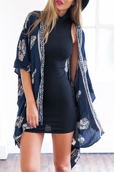 Cheap Sexy Print Blue Cover-up