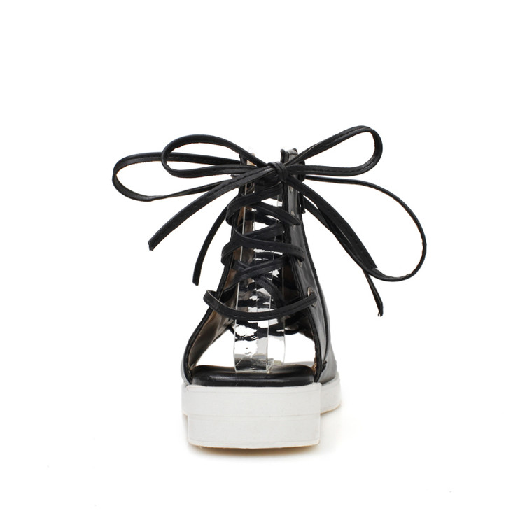 Cheap Fashion Peep Toe Lace-up Flat Low Heel Black PU Basic Sandals