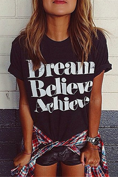 Cheap O Neck Letters Print Short Sleeves Black T-shirt