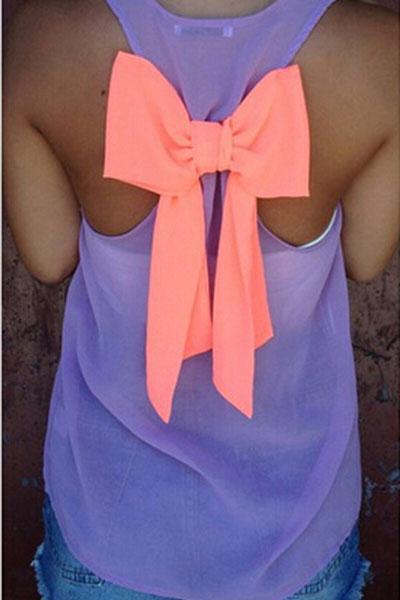 Fashion O Neck Sleeveless Back Bow Decorated Purple Chiffon Shirt