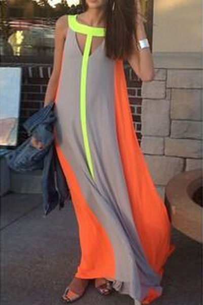 Sexy O Neck Tank Sleeveless Cut-out Patchwork Chiffon A Line Ankle Length Dress