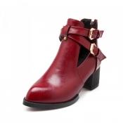 Fashion Pointed Closed Toe Buckle Design Chunky Mi