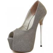 Fashion Round Peep Toe Stiletto Super High Heel Go