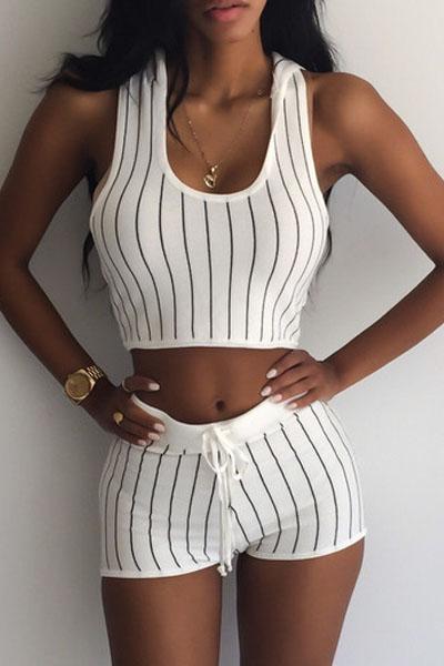 Sexy  Striped O Neck Sleeveless White Blending Two-piece Outfits