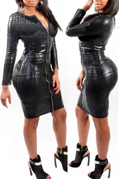 Robe cuir noir manche longue