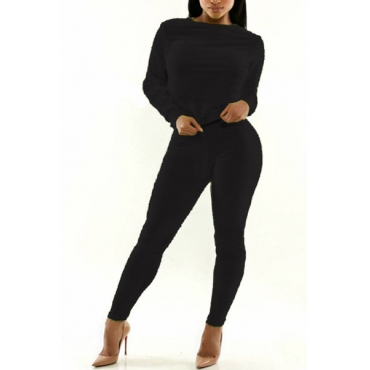 Casual Long Sleeves Black Polyester Two-piece Regular Pants Set