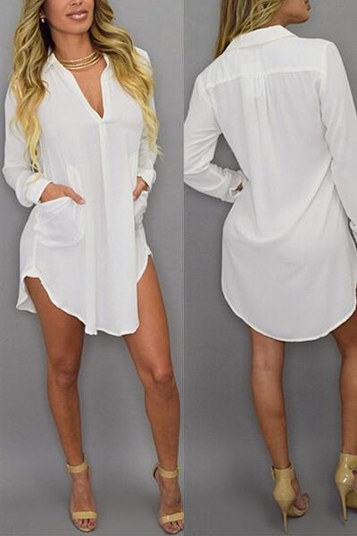 Fashion Turndown Collar Long Sleeves Pockets Design Asymmetrical Solid White Polyester Shirt