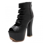 Fashion Round Peep Toe Cut-out Platform Chunky Sup