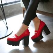Fashion Round Closed Toe Chunky Super High Heels R