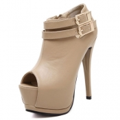 Fashion Round Toe Stilletto High Heels Apricot PU