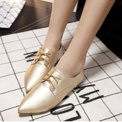 Casual Pointed Closed Toe Golden PU Low Heel Flats
