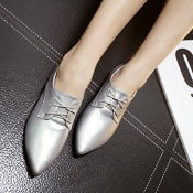 Casual Pointed Closed Toe Sliver PU Low Heel Flats
