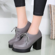 Fashion Round Closed Toe Lace-up Chunky Super High