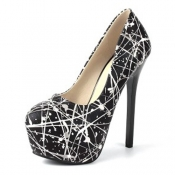 Fashion Round Closed Toe Print Platform Stiletto S