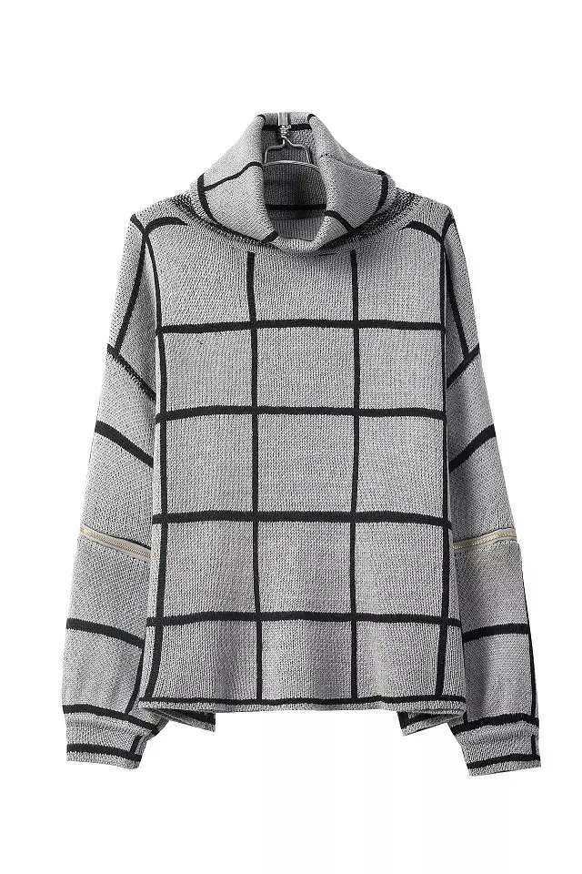 Fashion Turtleneck Long Sleeves Cut-out Plaids Print Grey Blending Regular Pullover Sweater