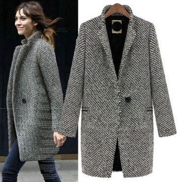 Fashion Turndown Collar Three Quarter Sleeves Single-breasted Regular Wool Coat