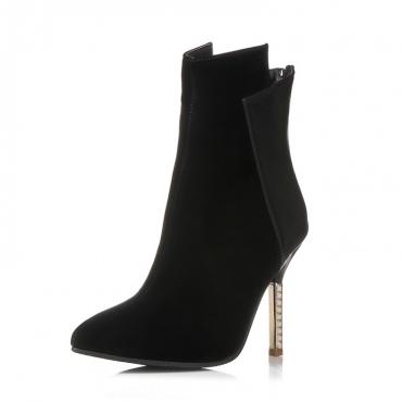 Fashion Pointed Closed Toe Stiletto Super High Heel Black PU Basic Pumps