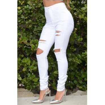 Fashion Button Fly Hollow-out White Cotton Blends Mid Skinny Pants