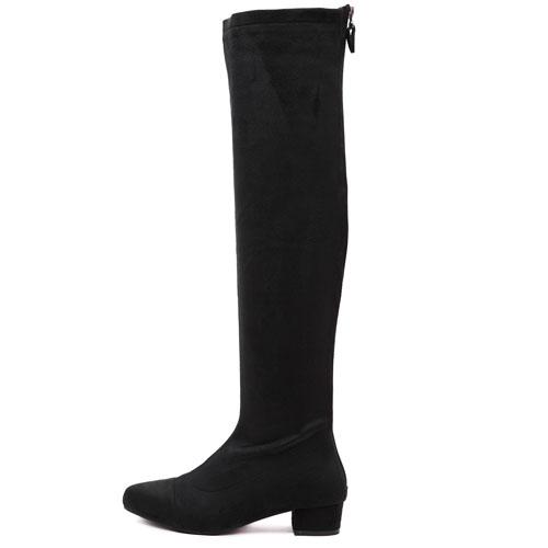 Fashion Pointed Toe Zipper Design Flat Mid Heel Black PU Knee High Boots