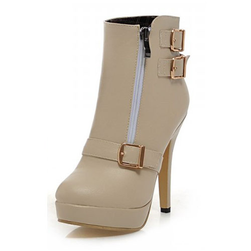 Spring Autumn Fashion Zipper Design Stiletto Super High Heel Beige PU Ankle Buckle Martens Boots