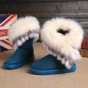 зимней моды круглый носок перья украшены скольжения на плоской низкой пятки синие PU середины икр ботинки снега
