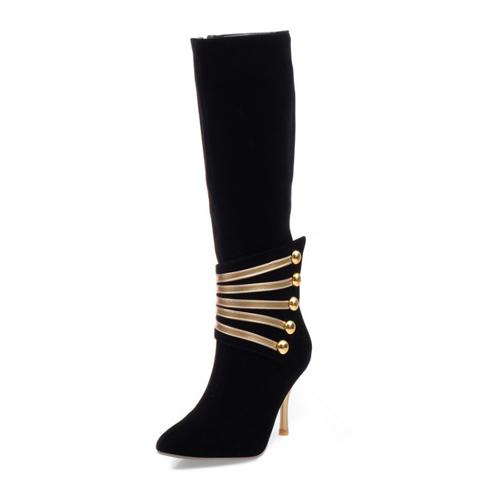 Spring Autumn Pointed Toe Zipper Design Stiletto High Heel Black PU Mid Calf Martens Boots