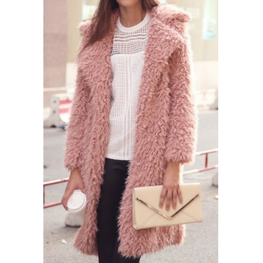 Fashion Turndown Collar Long Sleeves Pink Cotton Blend Regular Coat