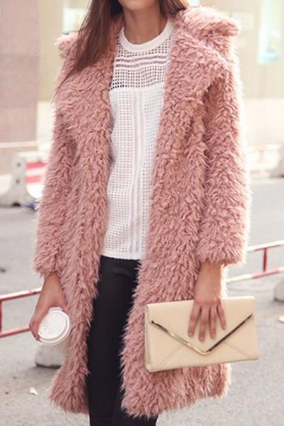 Fashion Turndown Collar Long Sleeves Pink Cotton Blend Regular Coat
